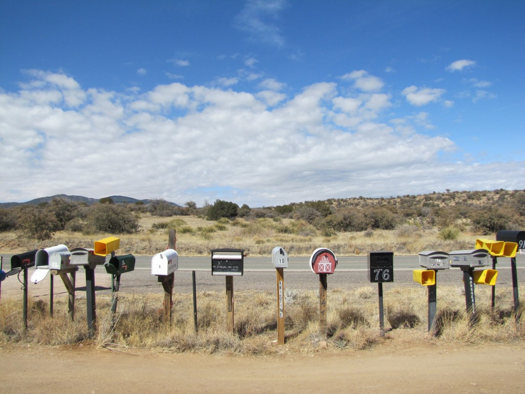 Rural route mailboxes where I stopped to refuel the guys