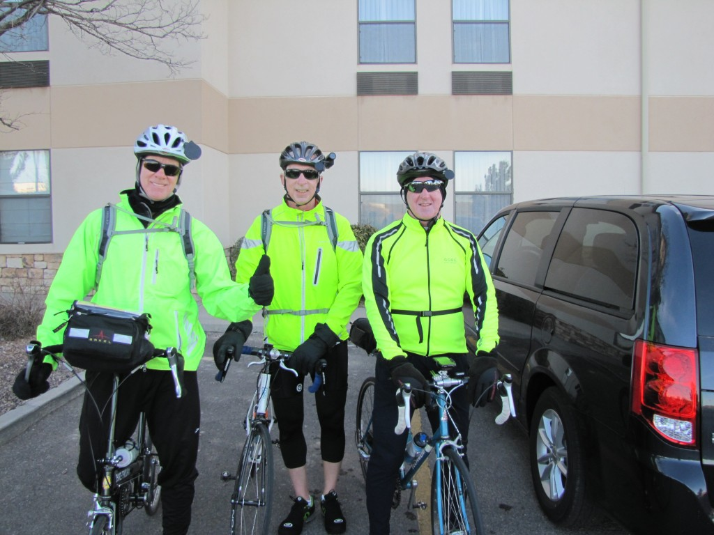 Mark projects confidence about the mountain ride while Brian and Tim are shaking in their cold-weather booties