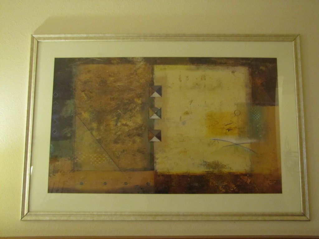 """Shapes and hatch marks  on rustic blocks of color 48""""x24"""" Holiday Inn Express, Silver City, NM"""