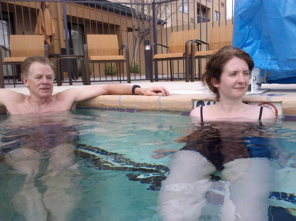 Mark and Beth relaxing in hot tub of Courtyard Hotel, El Paso Airport.