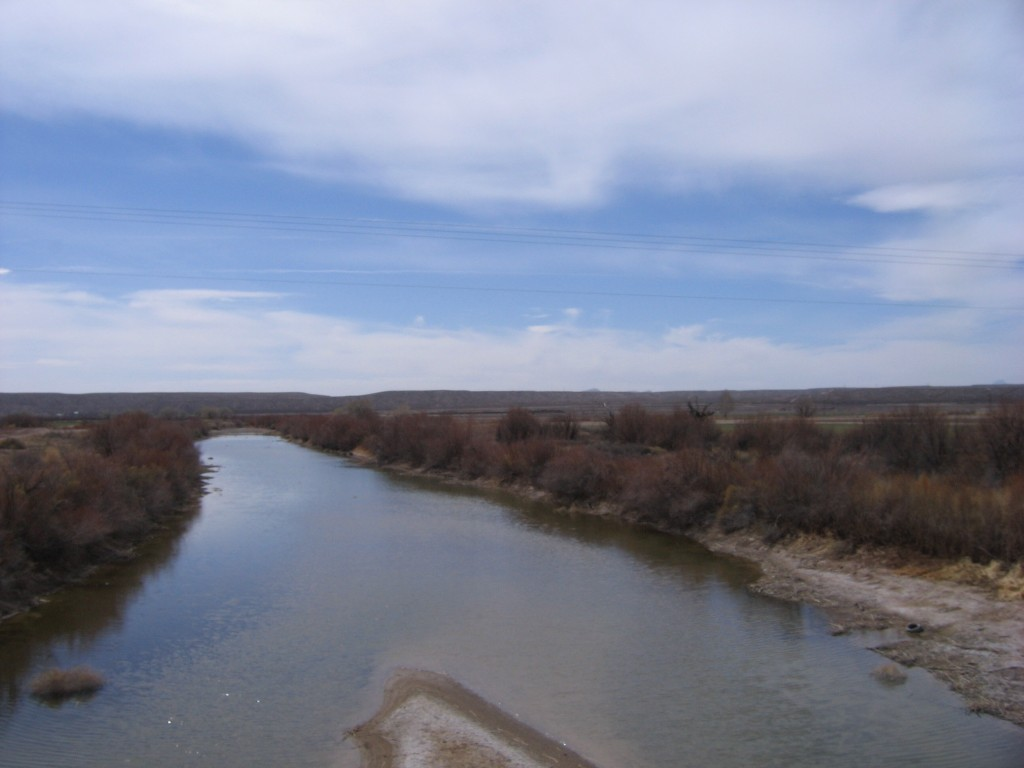 The mighty Rio Grande. All of the water is used for irrigation. We crossed it two more times and it was almost dried up at the final crossing.