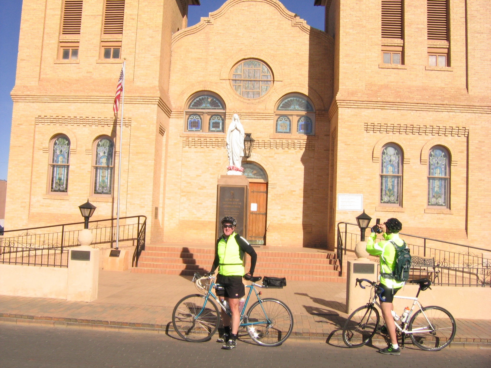 Tim and Brian in front of the Mesilla Cathedral.
