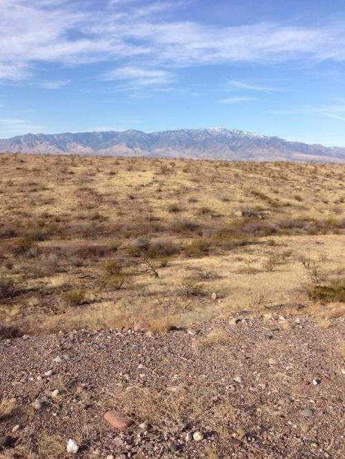 Dry desert after the Gila Valley with Mt. Graham still in the distance.