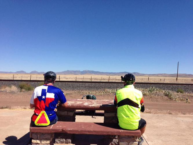 Tim and Brian looking at the Davis Mountains in the distance.