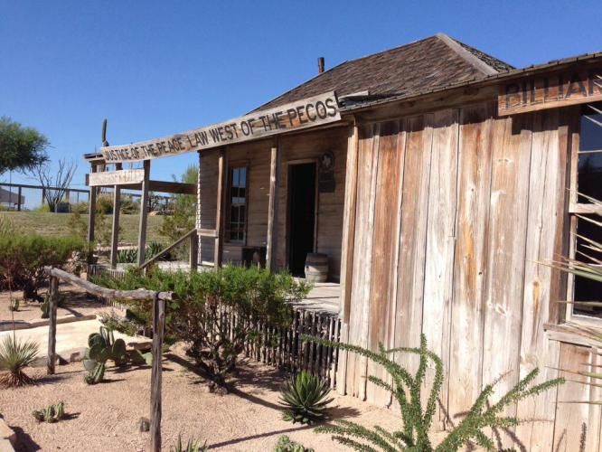 Langtry, TX is a ghost town with a visitor center and museum dedicated to Judge Roy Bean, the Law West of the Pecos. It was nice to find relief from the 15 to 20 mph headwinds.