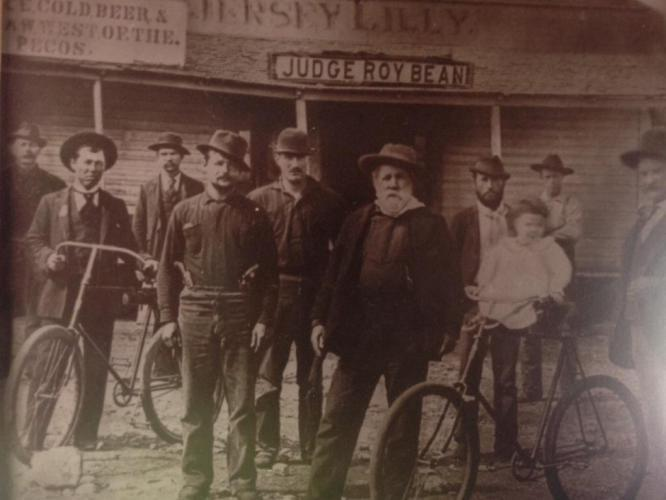 Judge Bean (in the center with the beard) and his bicycle club buddies.