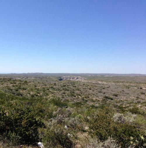 This was taken from a scenic overlook before we crossed the Pecos River and officially left west Texas behind. The Rio Grande and Mexico are out there in the distance. We took a break every chance we could as the day dragged on.