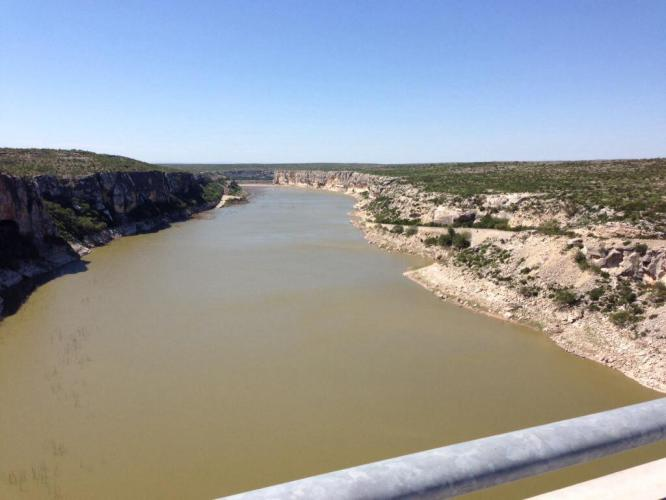No break was taken to get this shot over the Pecos River. The river is 275 feet below the bridge. The crosswind was horrendous and I just held the handlebar with one hand and snapped away without taking my eyes off the road. Not a bad picture considering the circumstances. You won't see any images of the Pecos crossing from camera cowards Tim and Brian.