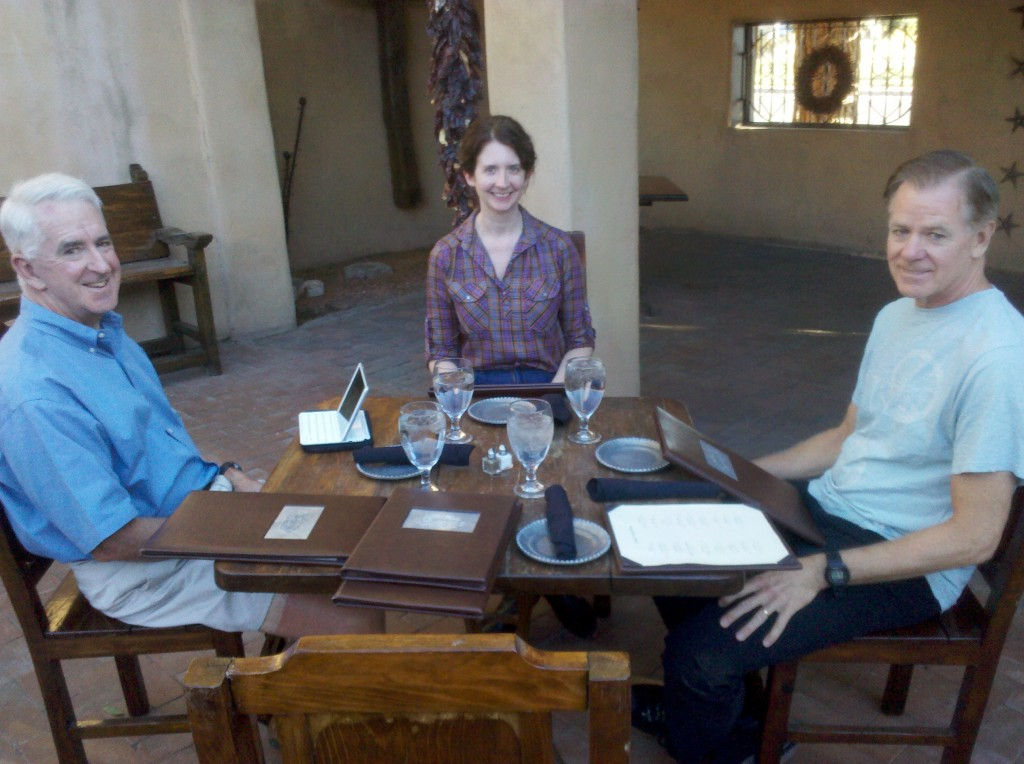 Tim, Beth and Mark at dinner at the Gage Hotel Restaurant on Sunday night.  We ate outside by a fireplace so both the food and the ambiance were really good!