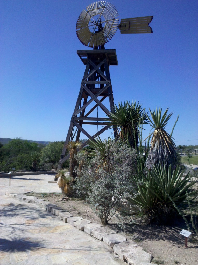 Windmill in Cactus Garden at Judge Roy Bean Visitor Center, Langtry, TX.