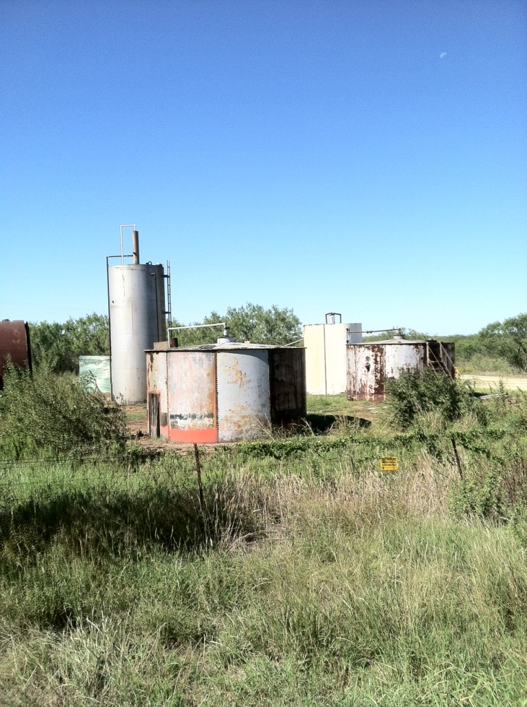We passed a lot of oil small oil tanks in and amongst farm land.  This one had a distinct oil smell.