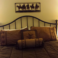 My very western style bed room at Diamond H B&B.  Hope the bed is comfy!