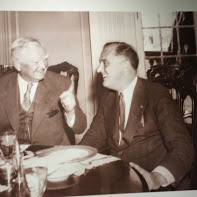 Photograph of Garner making a point to FDR.