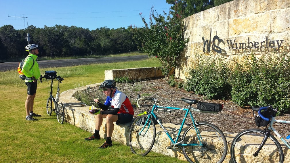 Mark and Tim at a rest stop at Wimberly Springs TX.