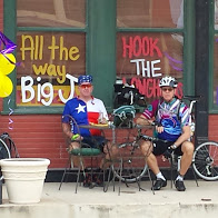 Mark and Tim at first rest stop of the day in Sabinal, TX.