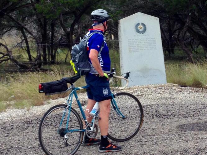 Believe it or not, this is Tim at an historical marker. Late in the afternoon, he actually wanted to finish the ride so bad that he passed one without stopping. You know it must have been a hard ride for that to happen!