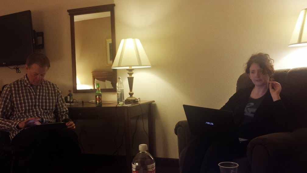 In the hotel room after dinner.  Mark is blogging and Beth is diligently helping Tim map tomorrow's route.