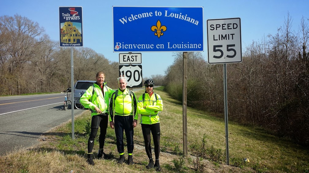 The Brothers at the border of Louisiana.  After having ridden in Texas for part of Leg2, all of Legs 3 and 4, and again for part of Leg 5, we finally made it to a new state!