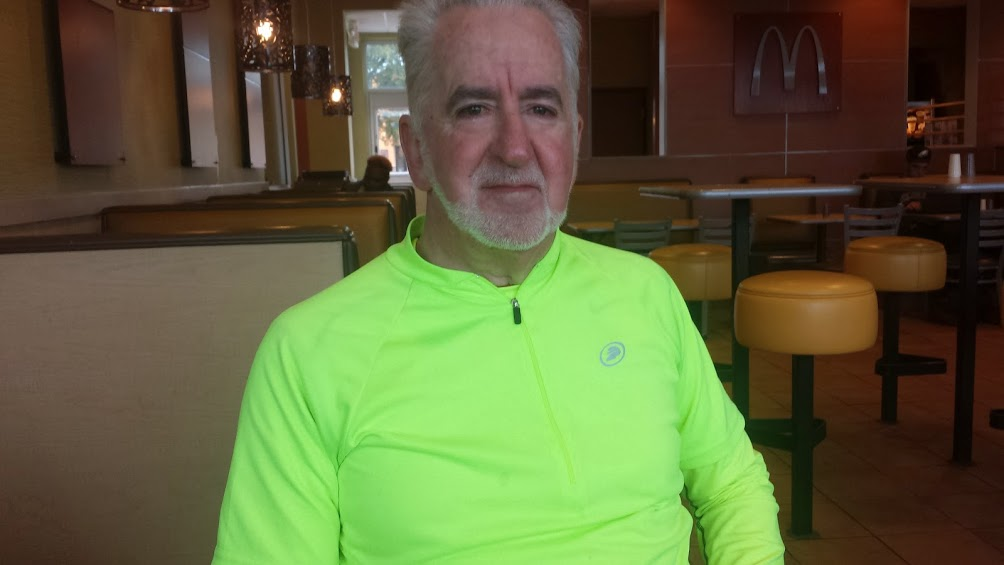 Tim at the McDonald's Restaurant in Cleveland, TX.  It had warmed up to 36 degrees at this point in the ride.