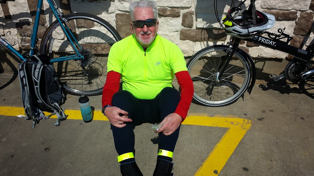 Tim savoring the sun at lunch in Kirbyville, TX