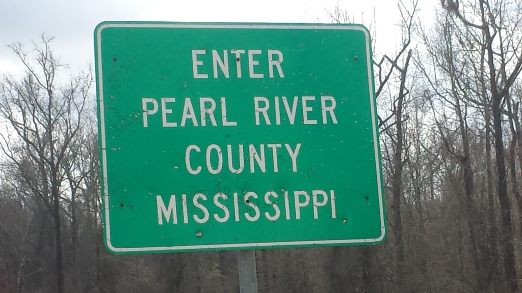 Sign indicating we were entering Pearl River County in Mississippi, just after we had crossed the Pearl River.  At first we thought this would be our only notification that we had entered Mississippi, but a few miles down MS 26, we encountered the sign in the next photo.