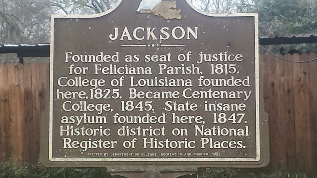 Historical marker in Jackson, LA.  Tim loves historical markers and reads every one he can find, as Matt pointed out to us (as if Mark and I didn't already know that!).
