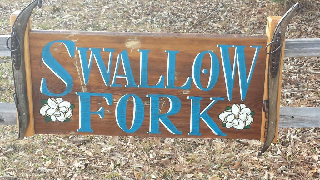 Swallow Fork sign along Oak Creek Road, leading us to our cabins.