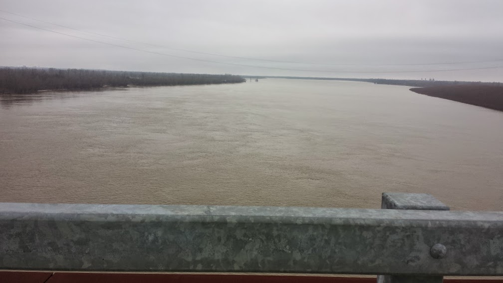 "The ""big muddy"" at the top of the bridge overlooking the Mississippi River on LA 10.  It is really wide here and incredibly muddy!"