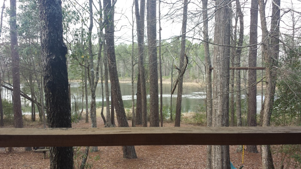 View from the deck of Beth and Brian's cabin at Shallow Fork Lake and Cabins.
