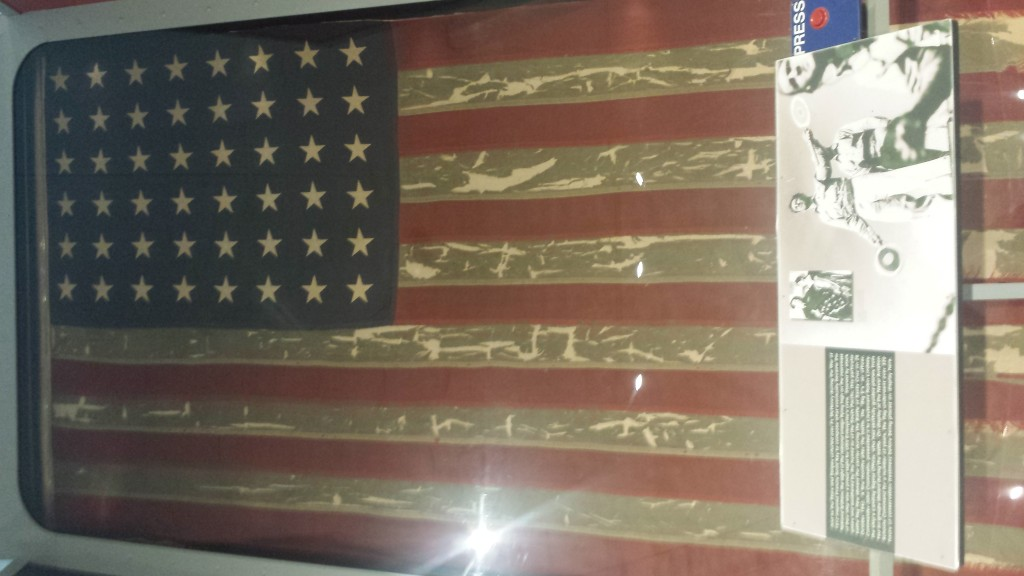 Battle flag of the USS Enterprise aircraft carrier, the same carrier that Jim Doolittle's raiders used to take off from when they bombed Tokyo in April 1942. Beth and I toured the USS Enterprise, which is now located in NYC.