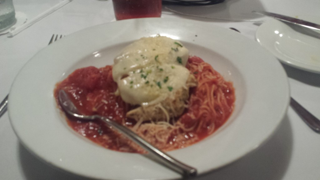 My chicken parmesan entree - it was just OK, but the desets were outstanding!
