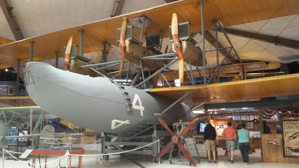Curtiss NC-4 WWI antisubmarine aircraft. The size of this WWI plane was really impressive, and also the mass of the three engines, each of which needed radiators to stay cool.