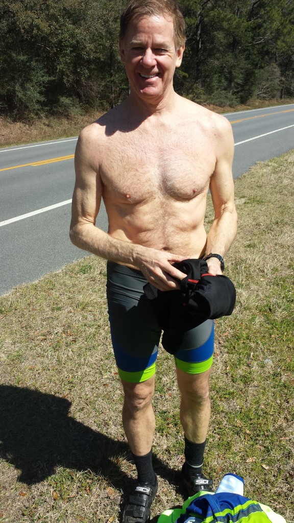 Beefcake shot of the day - Mark while shedding layers during our break just outside of Ponce de Leon.