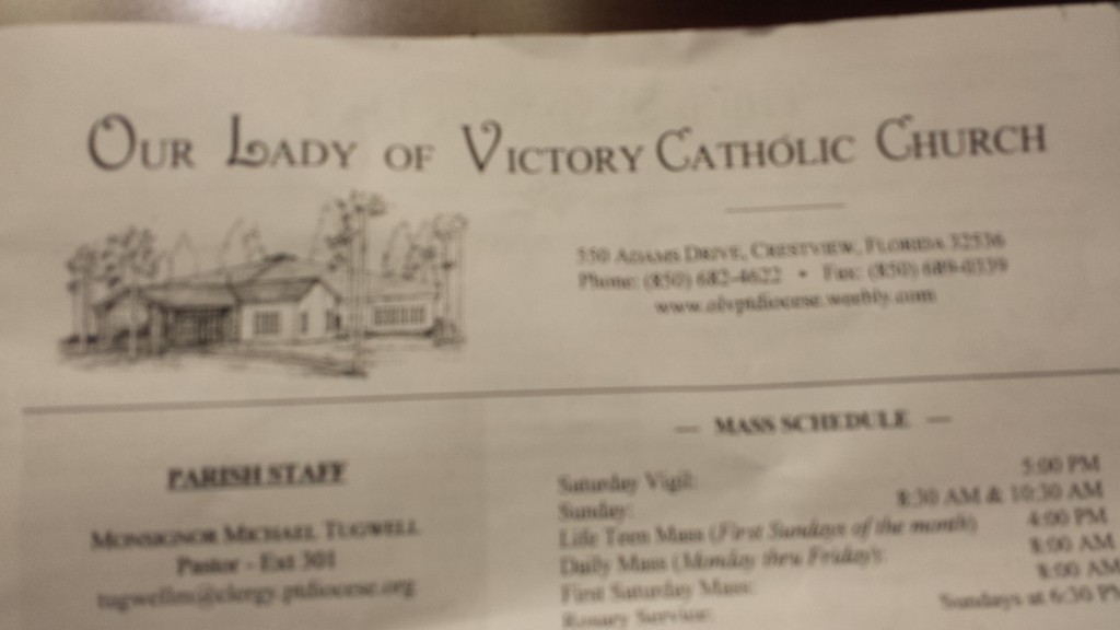 Church bulletin from Our Lady of Victory Catholic Church, Crestview, FL.