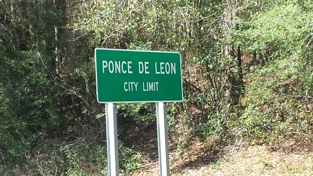 Ponce de LeonCity Limit sign halfway through the ride.