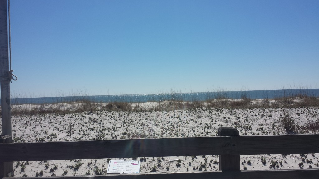 The beach at Gulf Shores Alabama. We were about 25 miles into the ride at this point, with another 36 miles to go.