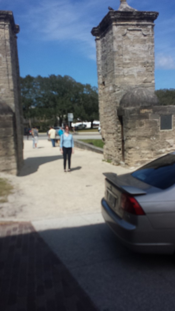 Beth at the old city gates of Historic St. Augustine.