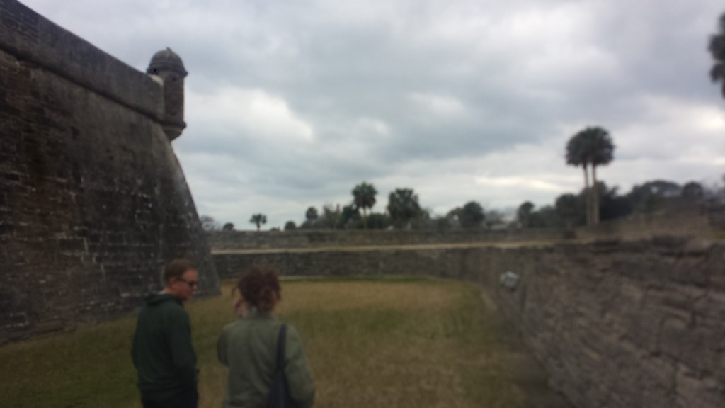 Mark and Beth walking around the Castillo de San Marcos Monument.