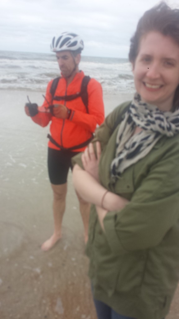 Matt and Beth on St. Augustine Beach. Unquestionably, Matt was a great help in both Legs 5 and 6, readily taking the point and allowing us to draft behind him, thereby making it wasier for all of the brothers. Thanks Matt!