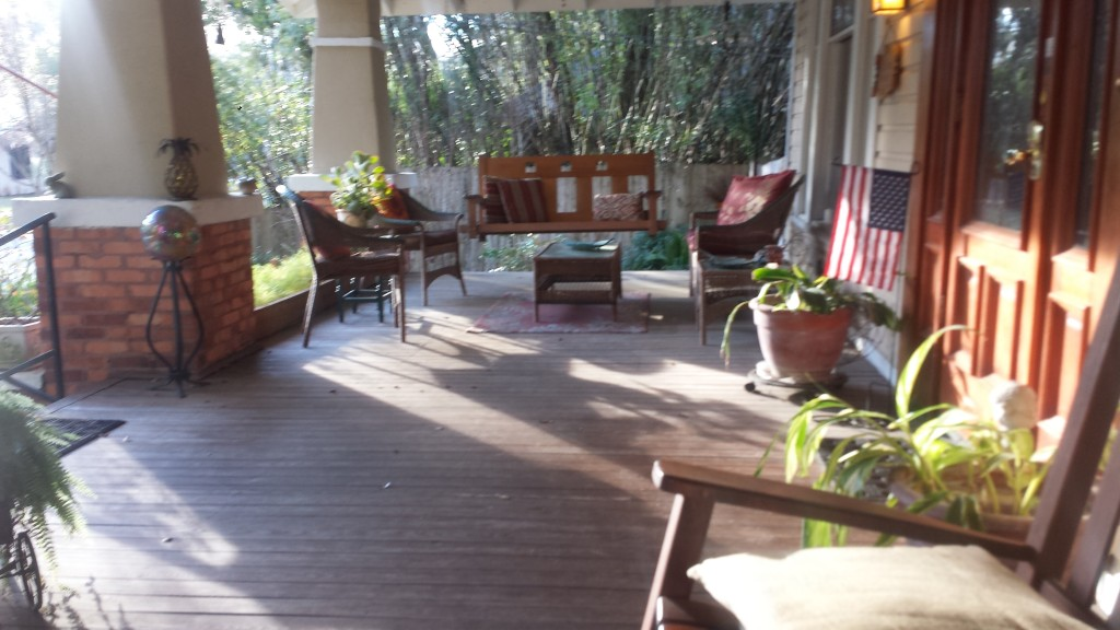 Front Porch ar the Grady House B&B High Springs FL.