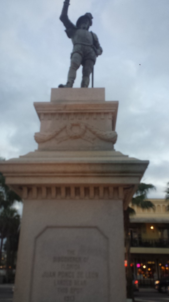 Statue of Ponce de Leon at Plaza de La Constitución in Historic St. Augustine.