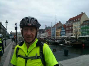 Dad not looking at the camera in front of Nyhavn.