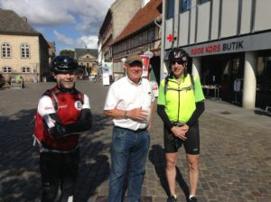 This gentleman is Jess Anthill, whom we met in the same town square.  He is getting ready for his annual solo. Ride from Copenhagen to Paris in Sept.  It is 1100 kilo. And he has been doing it for over 15 years.  He is 69 years old.  Most enjoyable visiting with him.