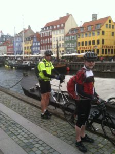 Copenhagen street scene. Notice the sign on the green building in the background.